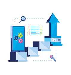search engine optimization with smartphone vector image