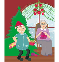 Senior couple spending the holidays at home vector