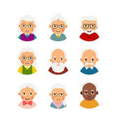 Set avatars older people kit avatars elderly vector