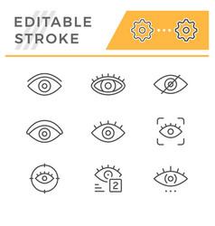 set editable stroke line icons eye vector image