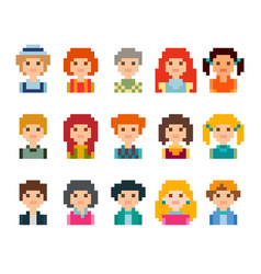 Set of cute avatars in pixel style vector
