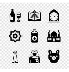 Set wine bottle with glass holy book koran vector