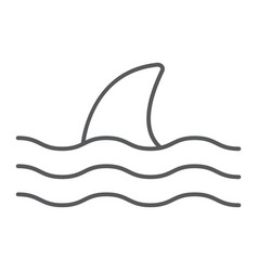 shark thn line icon animal and underwater vector image