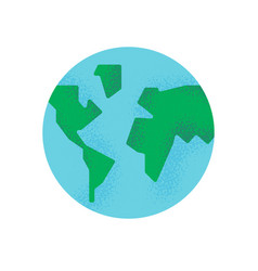 simple earth planet with green world map isolated vector image