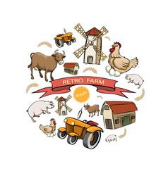 sketch retro farm round concept vector image