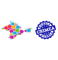 social network map of crimea with chat bubbles and vector image