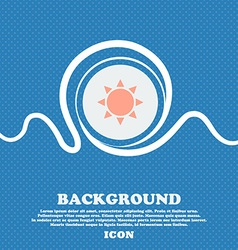 Sun icon sign Blue and white abstract background vector image