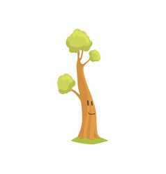 Tall tree with smiling face on trunk funny vector