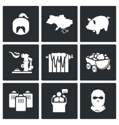 The energy crisis in Ukraine Icons Set vector