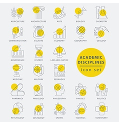 Thin line academic disciplines vector