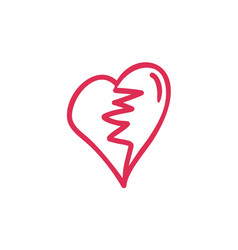 Thin line broken heart icon vector