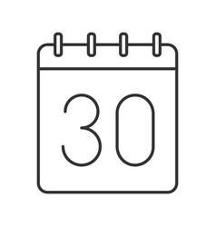 Thirtieth day month linear icon vector