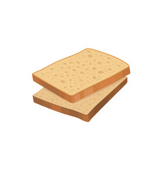 Two slices of detailed fresh wheat bread loaf vector