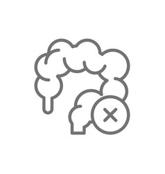 Unhealthy intestines colon line icon isolated on vector