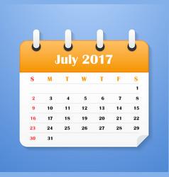 Usa calendar for july 2017 week starts on sunday vector
