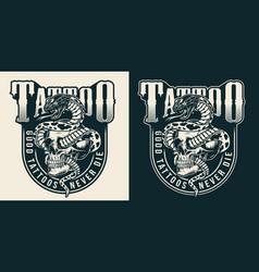 Vintage tattoo studio monochrome label vector