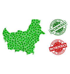 Welcome composition of map of borneo island and vector