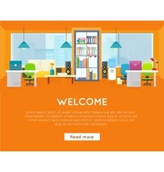 Welcome Office Banner Modern Office Interior vector image