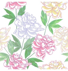 White Seamless pattern with peonies vector image