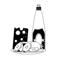 wine bottle and cheese board vector image vector image