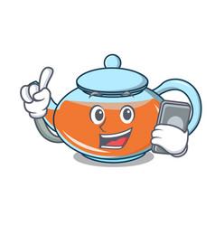 with phone transparent teapot character cartoon vector image