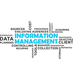 word cloud information management vector image