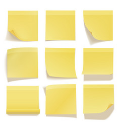 Yellow sticky note realistic office information vector