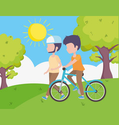 Young man riding bike and man walking field trees vector