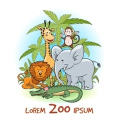 Zoo cartoon animals logo vector image