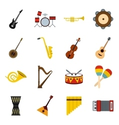 Musical instruments icons set flat style vector image