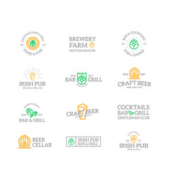 set of retro vintage beer and alcohol logo or vector image vector image
