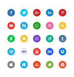 Social media circular icons set vector
