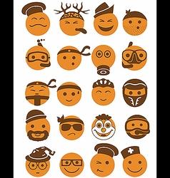 20 smiles icons set profession orange vector image
