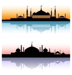 Mosque architecture silhouettes sunset cityscapes vector image vector image