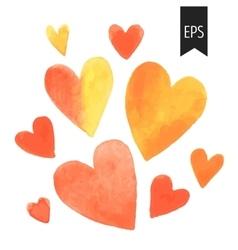 Set of orange watercolor hearts vector