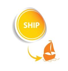 sticker ship orange vector image