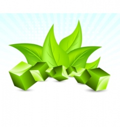 background with cubes and leav vector image vector image