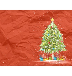 christmas tree over red crumple background vector image vector image