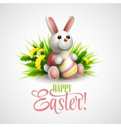 Easter card with bunny eggs and flowers vector image vector image