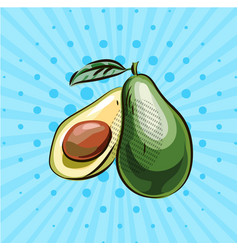 one and a half avocados on a blue background vector image vector image