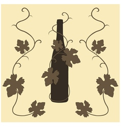 silhouette wine and grape leaves vector image