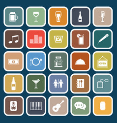 Bar flat icons on blue background vector