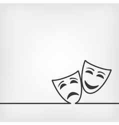 comedy and tragedy masks white background vector image vector image