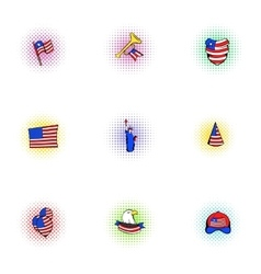Independence of USA icons set pop-art style vector image