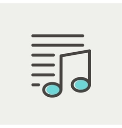 Musical note with lines thin line icon vector image vector image