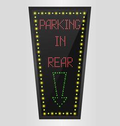 Shining retro light banner parking in rear vector