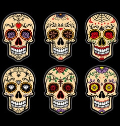 Sugar skull day of the dead set vector image