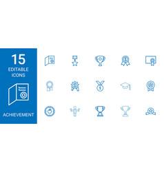 15 achievement icons vector