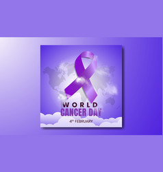 4 february world cancer day purple gradient vector