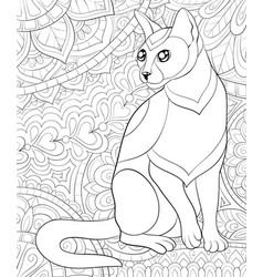 Adult coloring bookpage a cute cat vector